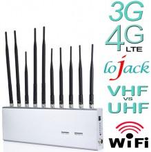10 Antennas 12W Powerful 3G 4G WiFi Bluetooth LoJack UHF VHF GPS Signal Blocker
