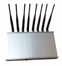 16W 8 Antennas Powerful WiFi Bluetooth 3G 4G Mobile Phone Jammer with Cooling Fan