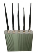 High Power 5 Antennas 3G Cellphone Signal Jammer with Remote Control