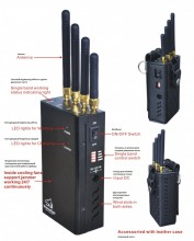 4 Antennas Handheld WiFi 3G Signal Jammer with Cooling Fan
