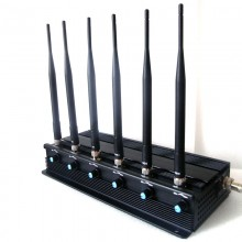 Adjustable Powerful 15W 3G 4G Cellphone Signal Jammer with 6 Antennas