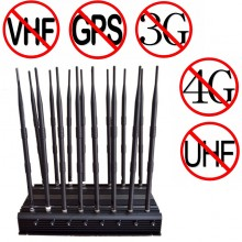 16 Antennas Adjustable Powerful All Bands WiFi UHF VHF GPS Lojack Signal Jammer & 3G 4G Signal Blocker