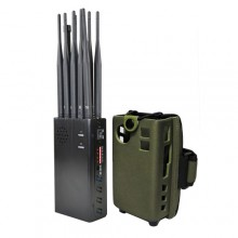 Handheld 10 Channels Mobile Phone 2G/3G/4G + LOJACK + GPSL1 + WiFi(2.4G, 5.8G) Signal Jammer with Large Hot Sink