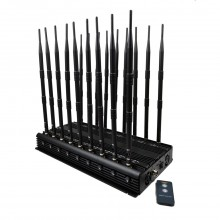 First Ever Made Remote Controll Design 18 Channels High Power Mobile Phone WiFi Lojack VHF UHF GPS All-in-one Signal Jammer with Adjustable Button